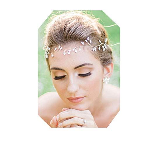 Lalia Vintage Haarschmuck Kranz Hochzeit Blumen elegant Braut Retrostil Haarkamm Diadem Haarschmuck klar, Perlen