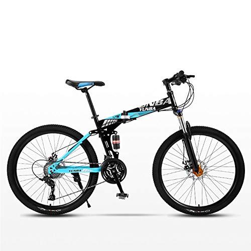 DSAQAO Folding Mountain Bike 26 Inch,21 24 27 30 Speed Disc Brake Bicycle Folding Bike For Adult Teens Unisex Student Flagship2 21 Speeds