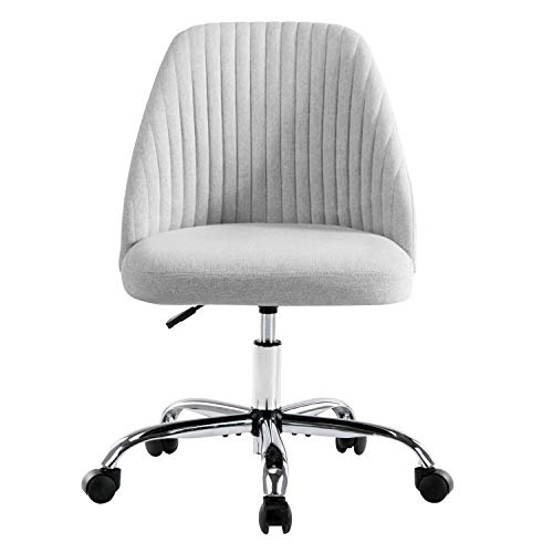 Home Office Chair Mid-Back Twill Swivel Desk Chair with Adjustable Height, Armless, Gray