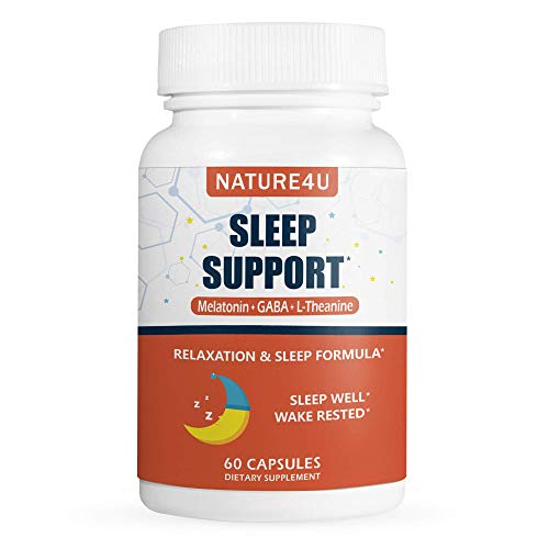 Nature4U Sleep Support Non-Habit Forming Anxiety & Insomnia Relief Supplement Herbal Sleeping Pills for Adults GABA, L-Theanine, Melatonin 60 Capsules