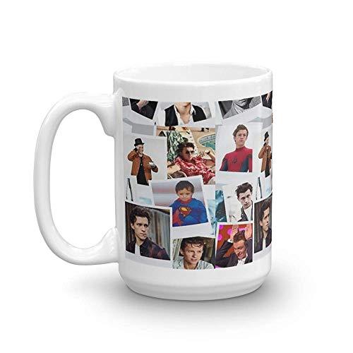 Tom Holland - Taza de cerámica brillante de 11 onzas para los amantes del café, regalos para hombres y mujeres, taza de cerámica fina de 11 onzas con esmalte impecable