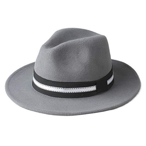 XY-hat Calentar Hombres Mujeres Invierno Sombrero Fedora Sombrero de ala Ancha Iglesia Sombrero Panamá Jazz Sombrero Sombrero de Viaje al Aire Libre Moda (Color : Light Gray, Size : 56-58)