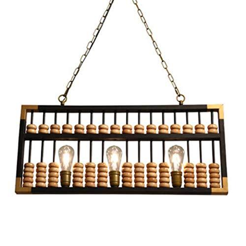 Lámpara colgante Lámpara de techo Lámpara colgante retro de la lámpara industrial Abacus for Bar Estudio de la sala restaurante en el patio de la lámpara de techo de madera