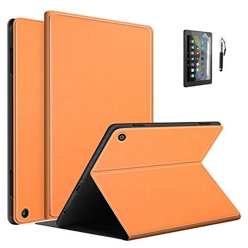Fire HD 8 ケース FamGift 傷つけ防止 カバー 薄型 軽量 内蔵マグネット開閉式 布地カバー Fire HD 8/HD8 Plus 2020 スマートケース スマートケース (オレンジ)