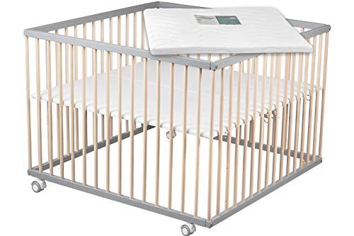 Sämann Laufgitter Basic 100x100 cm weiß mit Matratze, höhenverstellbar, Buche...