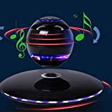 WXH Magnetic Levitating Speaker, Bluetooth Led Flash Wireless Floating Speakers, Hands-Free Calling with Microphone, for Home/Office Decor/Black