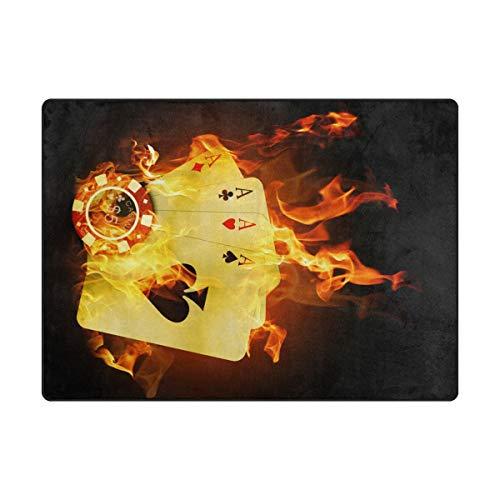 DEZIRO Tapis de Sol antidérapant, Motif Poker de Casino Jaune, Tapis de Sol pour extérieur, Polyester, 1, 63 x 48 inch