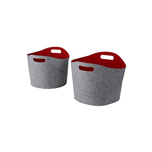 Kamino Flam Allzweckkörbe-Set 2tlg. aus gefilzten Kunststofffasern, Kaminholzkörbe in Grau-Rot, Aufbewahrungskörbe mit zwei Henkeln, Transportkörbe in 2 Größen