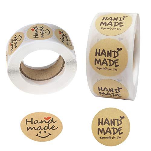 bowarepro 2 pegatinas hechas a mano, 1 pulgada, 500 etiquetas por rollo, etiquetas adhesivas hechas a mano, perfectas para dueños de pequeñas empresas y regalos caseros