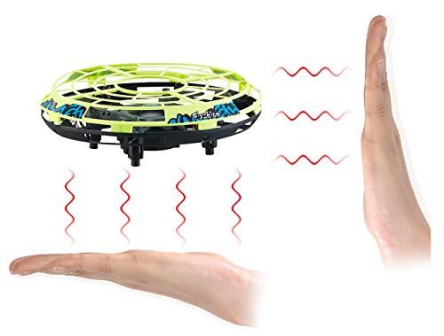 Simulus UFO Spielzeug mit Sensor: Selbstfliegendes Quadrocopter-UFO mit Infrarot-Sensoren und LEDs (Mini Drohne Infrarot)