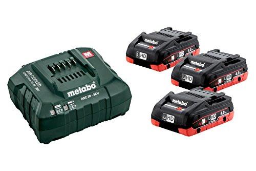 Metabo Akku Basis Set (3x 4,0 Ah Werkzeugakku inkl. Ladegerät ASC 55, Ersatzakku 18 V, für Elektrowerkzeuge) 685132000