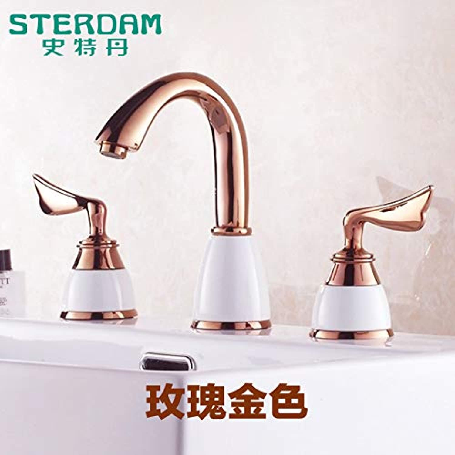LHbox Basin Mixer Tap Bathroom Sink Faucet Antique Continental gold 3 holes 3 holes basin mixer a decent full copper hot and cold 8-inch lowered basin faucet, pink gold