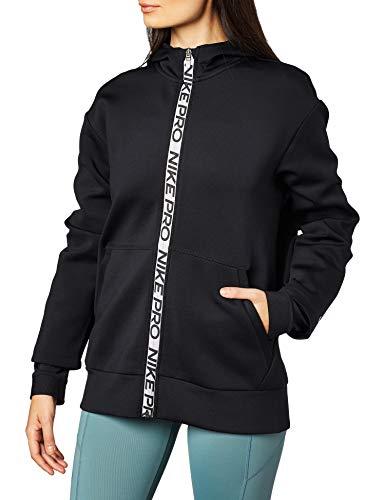 Nike Damen Np Fleece Full Zip Hoodie T-Shirt, Schwarz (Black/Metallic Silver), (Herstellergröße: X-Large)