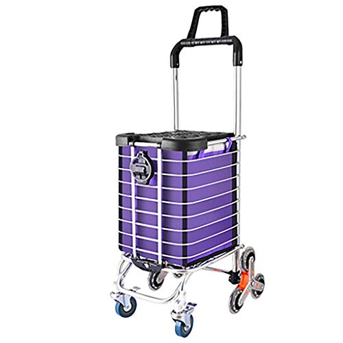 DZX Hand Trucks Folding shopping cart rolling grocery cart with rotating wheel, waterproof bag, padded handle, aluminum frame for convenient storage, silver hand truck (Color : Purple)