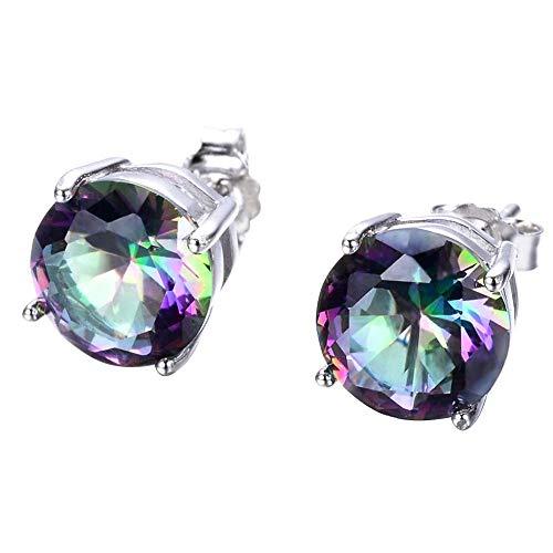 100% Plata de Ley 925 8mm redondo místico arcoíris topacio piedras preciosas pendientes de joyería pendiente para regalo de mujer