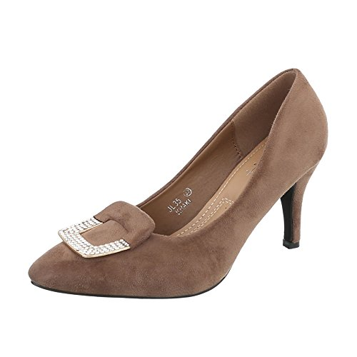 Ital-Design High Heel Pumps Damen-Schuhe High Heel Pumps Pfennig-/Stilettoabsatz High Heels Pumps Hellbraun, Gr 40, Jl35-