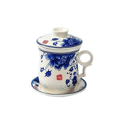 ufengke Jing Dezhen Taza De Té De Porcelana Azul Y Blanca, Conjunto De 4 Piezas Patrón De Flores De Peonía Taza De Té China Con Filtrar, Para Regalo, La Familia Y La Oficina -300 Ml