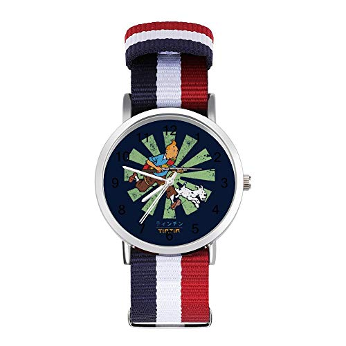 Tintin Retro Japonés Ocio Correa Relojes Trenzado Reloj con Escala