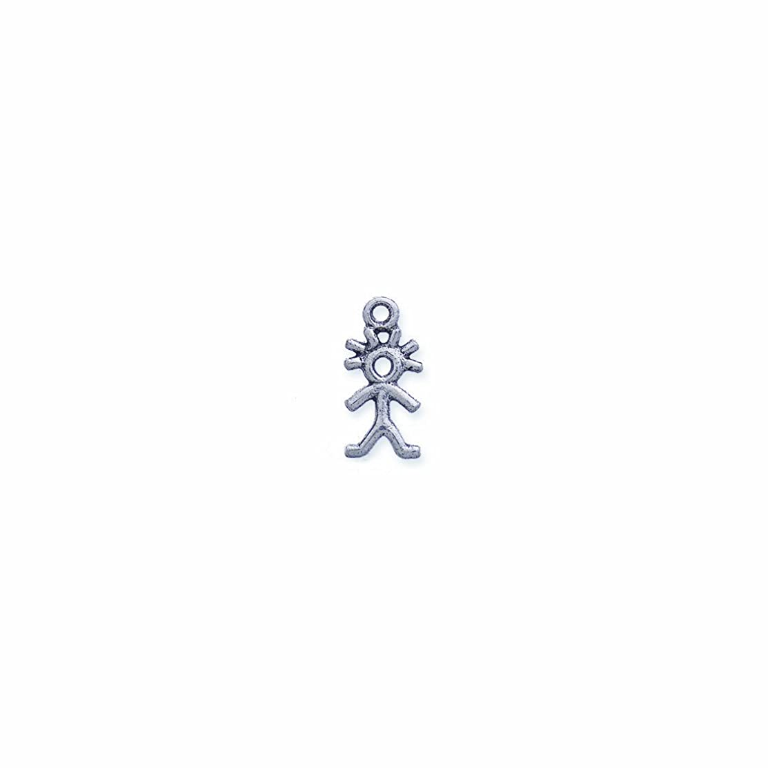 Shipwreck Beads Pewter Boy Stick Figure Charm, Silver, 10 by 20mm, 6-Piece