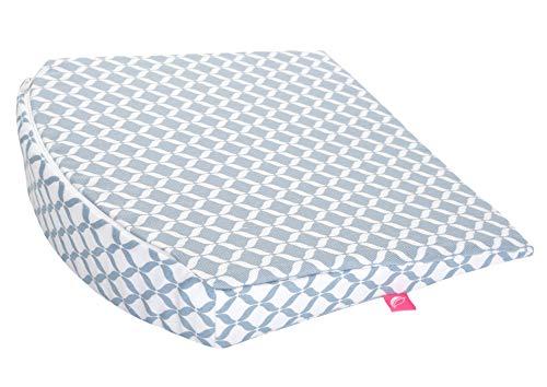 Baby Keilkissen ideal für Kinderwagen Öko-Tex Standard 100 - Gr. 30x30cm inkl. abnehmbarem Bezug aus 100% Baumwolle, blau classiscs