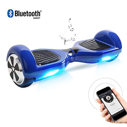 Hoverboard, 6.5 Zoll Self Balancing Scooter mit Bluetooth Lautsprecher - Tragetasche - LED Lights Elektro Scooter (Blue)