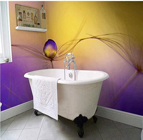 ZJfong aangepaste 3D-muurpapier, moderne romantisch lila, paardenbloem, fotobehang, pvc, waterdicht, zelfklevend behang, sticker, huisdecoratie 350 x 245 cm.