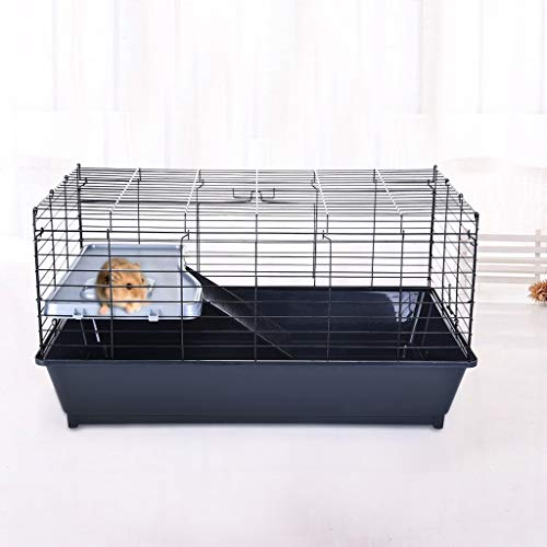 Universal Small Animal Home, Pastorals Hamster Cat Ferret Cage Wire Pet Cage,Anti-Fall Portable Luxury Small Animal Home (Black)