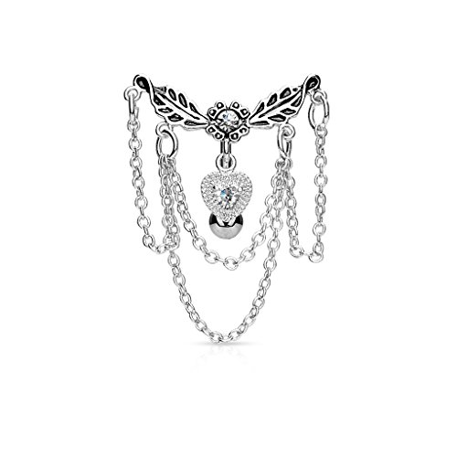 Pierced Owl Leaflet Chandelier Chained Heart Top Down Dangle Belly Button Ring 316L Surgical Steel 14g Navel Ring