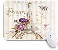 マウスパッド Mouse Pad Eiffel Tower Retro Style Flower Butterfly Mousepad Non-Slip Rubber Base for Computers Laptop