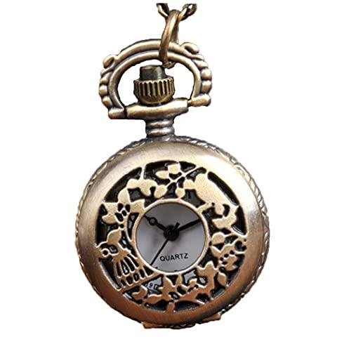 Yililay Mujeres Bolsillo analógico Bolsillo Reloj de Bolsillo Jaula pájaro Animales patrón Collar Colgante Bolsillo Reloj Bronce Vintage Cadena Collar Reloj de Bolsillo s