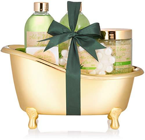 BRUBAKER Aloe Vera Love Set de regalo de baño con bañera oro, 6 piezas