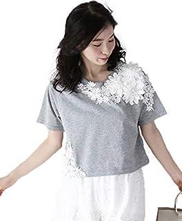 [フレンチパヴェ] フラワーレース コットン カットソー Tシャツ 半袖 レディース