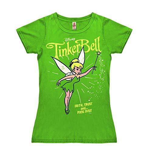 Logoshirt - Disney - Campanilla - Polvo de Hada - Camiseta Vintage para Mujer - Verde - Diseño Original con Licencia, Talla XS