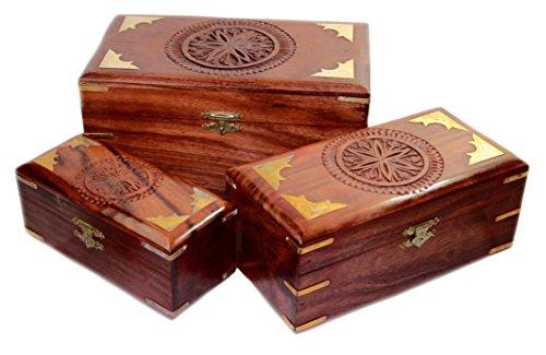 Budawi® - Holz Schatulle Truhe Box mit Blumen Motiv aus Shisham, Holzbox Holztruhe