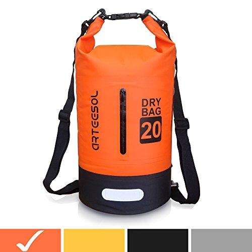 arteesol Wasserdichte Tasche 5L/10L/20L/30L Dry Bag Rucksack mit doppeltem Schultergurt, Rucksack für Schwimmen, Kajakfahren, Bootfahren, Angeln, Reisen, Radfahren, Strand [7 Farben], Orange, -30L