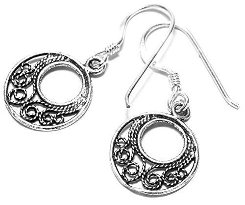 windalf Pendientes Farne H: 1.5cm espiral de ornamentación Vikingo de joyas plata de ley 925
