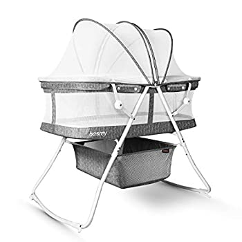 besrey Bassinet for Baby 3 in 1 Portable Baby Bassinets Rocking Cradle Bed Easy Folding Bedside Sleeper Crib Quick-Fold for Newborn Infant up to 33 lb Compact Storage Mattress and Net Included