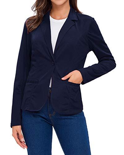 Romwe Women's Long Sleeve Casual Blazers Open Front Work Office Jackets Blazer Black and White XL