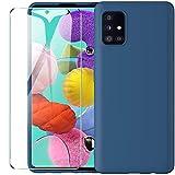 ARRYNN Funda Samsung Galaxy A51 4G con Cristal Templado Protector de Pantalla,Azul Ultra Slim Protectora Funda de Silicona Líquida Suave Case Cover para Samsung Galaxy A51 4G - Azul