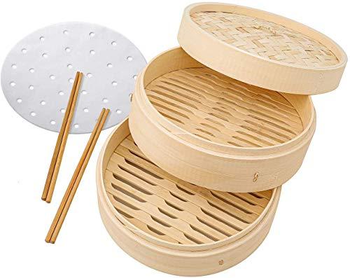Bio-Bambus-Dampfgarer, 25,4 cm, 2 Ebenen mit Deckel, 2 Paar wiederverwendbare Essstäbchen, 50 Einlagen, zweistöckiger Bambus-Dampfgarer, ideal für Dim Sum, Gemüse, Fleisch und Fisch.