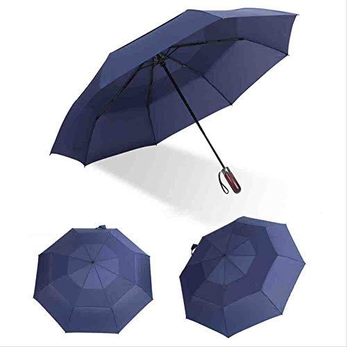 QNBD Doppel Starke Windbeständige Regenschirm Automatische Männer Frauen Regen Werbegeschenk Tragbarer Regenschirm Langgriff RegenschirmeBlau