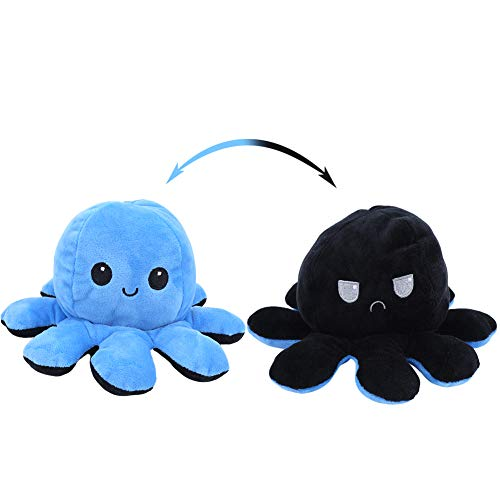 Fockety Reversible Octopus Doll, 20 x 10cm Mini Double-sided Flip Octopus Plush Toy Creative Lovely Soft Octopus Stuffed Animal Dolls Show Your Mood, for Kids Adults (Blue+Black)