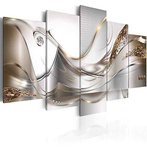 murando Acrylglasbild Abstrakt 200x100 cm 5 Teilig Wandbild auf Acryl Glas Bilder Kunstdruck Moderne Wanddekoration - Silber Gold Perlen a-A-0004-k-o