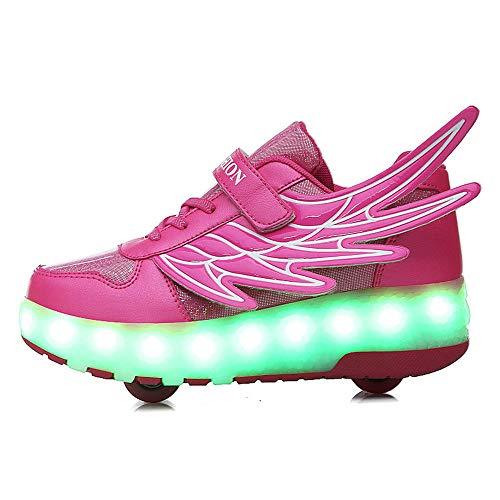 QHGao sneaker met rolschaatsen voor kinderen en meisjes, elektrische, onzichtbare schoenen met twee wielen, LED-schoenen, kinderen, kleurrijk, roze, 29