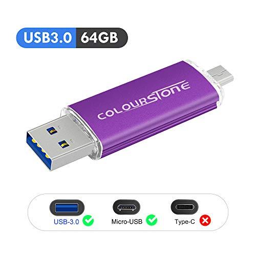 OTG Memoria USB 3.0, Colourstone 64GB Pendrive del Puerto Dual Compatible con Samsung Huawei Smartphones y Tablets Memoria Externa (Morado 3.0-64GB)