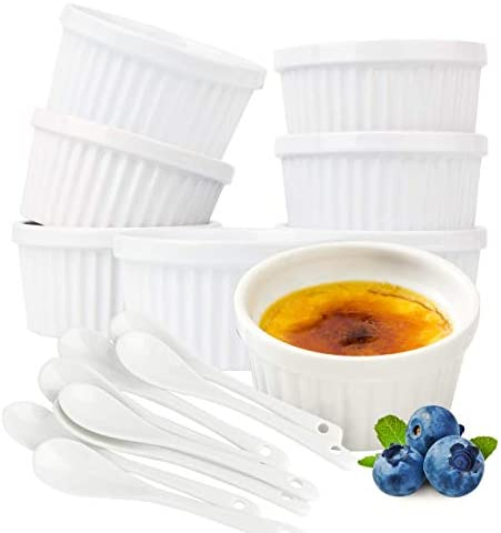 Souffle Dish Ramekins for Baking 6 Ounce Set of 8 White with 8 Extra Spoons 6 Oz 3 5 inch Ceramic product image