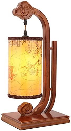 Xiaokang Lámpara de Escritorio Dormitorio de Noche lámpara de Cama Creativa Retro Estudio Estudio lámpara de Mesa de Madera Maciza imitación de Piel de Cordero de la lámpara de teestube