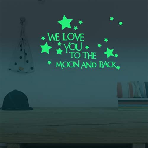 """Homics Wandaufkleber für Kinderzimmer, leuchtende Wörter in der Nacht, """"We Love You to The Moon and Back"""" – Wörter, leuchten im Dunkeln mit Sternen um die Tapete für Kinderzimmer"""