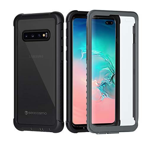 seacosmo Samsung Galaxy S10 Plus Hülle, Stoßfest S10 Plus Hülle 360 Grad vollschutz Handyhülle Rugged Cover S10 Plus mit eingebautem Bildschirmschutz, Grau - Schwarz