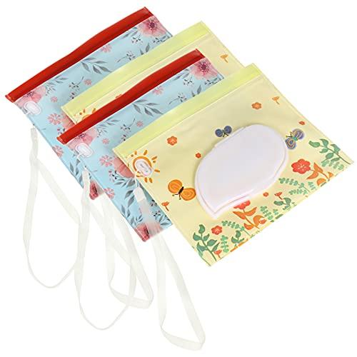 HEALLILY 4 Pzas Dispensador de Bolsa de Toallitas Húmedas Reutilizables Recargables para Bebés Bolsa de Toallitas de Viaje Práctico Soporte Bolsa de Pañales